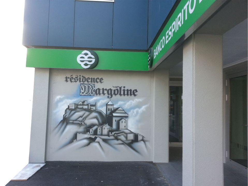 dessin sur béton immeuble